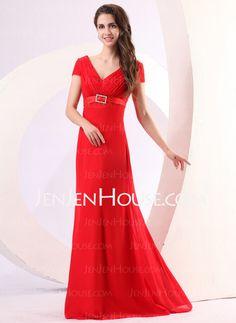 Mother of the Bride Dresses - $108.12 - A-Line/Princess V-neck Floor-Length Chiffon Homecoming Dresses With Ruffle (022014283) http://jenjenhouse.com/A-line-Princess-V-neck-Floor-length-Chiffon-Homecoming-Dresses-With-Ruffle-022014283-g14283