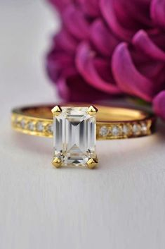 24 Best Rose Gold Engagement Rings For A Tender Look Emerald Cut Engagement, Gemstone Engagement Rings, Antique Engagement Rings, Rose Gold Engagement Ring, Gold Engagement Rings, Sparkly Jewelry, Wedding Jewelry, Wedding Rings, Emerald Cut Diamonds
