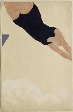 Onchi Kôshirô (Japanese, 1891–1955), Diving, 1932