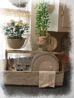 VINTAGE chippy wood garden/kitchen tote box carrier by SoShabbyJen