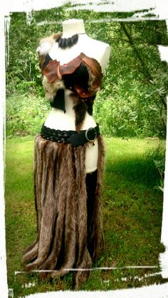 Game Of Thrones Costume Fur Skirt Leather Belt by PrimalForged