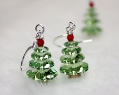 Not the Christmas Idiot Swarovski Holiday Tree earrings Plus Free Snowman earrings FREE USA SHIPPING