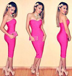 Jaomie - 100% Premium Quality Women Clothing Bandage Dress, 2016 women new celebrity strapless midi dress sheath Rose bandage dress sexy club long party dresses vestido JJHL317-5 (XS) -- Awesome products selected by Anna Churchill
