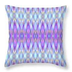 """Blue Diamond Prism Pattern Throw Pillow by Expressionistart studio Priscilla Batzell.  Our throw pillows are made from 100% spun polyester poplin fabric and add a stylish statement to any room.  Pillows are available in sizes from 14"""" x 14"""" up to 26"""" x 26"""".  Each pillow is printed on both sides (same image) and includes a concealed zipper and removable insert (if selected) for easy cleaning."""