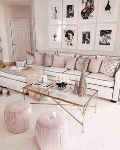 Chanel & Glam Inspired living room makeover - Best My deas Glam Living Room, Glam Room, Home And Living, Living Room Decor, Living Spaces, Bedroom Decor, Modern Living, Living Room No Sofa, Wall Decor