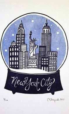New York City Snowglobe - State Series Letterpress Print, via Etsy shop Nyc Snow Globe, Snow Globes, Go To New York, New York City, Empire State Of Mind, Empire State Building, Globe Drawing, Rock N Folk, I Love Nyc