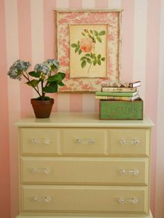 pale yellow repainted dresser. Very pretty.