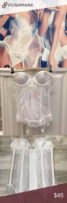 NWOT 34A push-up garter bustier NWOT 34A white lace push-up garter bustier. Never worn! Victoria's Secret Intimates & Sleepwear Bras