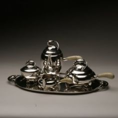 """Georg Jensen Sterling Silver """"Blossom"""" Coffee and Tea Service on Tray No. 2X"""