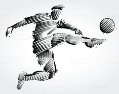 Jogador de futebol para chutar a bola vetor de jogador de futebol para chutar a bola e mais banco de imagens de adulto royalty-free Soccer Tattoos, Football Tattoo, Body Art Tattoos, Tatoos, Football Logo Design, Soccer Silhouette, Soccer Drawing, Soccer Art, Sports Graphic Design