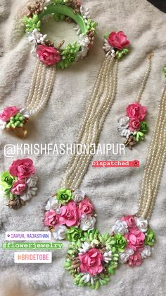 To get one for yourself or for your friends & relatives kindly contact 8107332862 Flower Jewellery For Haldi, Indian Wedding Jewelry, Flower Jewelry, Indian Jewelry, Floral Necklace, Bridal Necklace, Bridal Jewelry, Flower Ornaments, Diy Ribbon