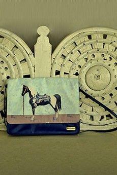 Blue Horse Print Sling Bag
