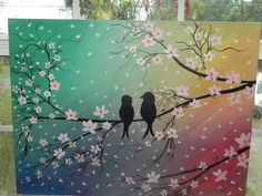 Huge Lovebirds Cherry Blossoms Painting Markdown Today only 199.00 to 95.00. $75.00, via Etsy.