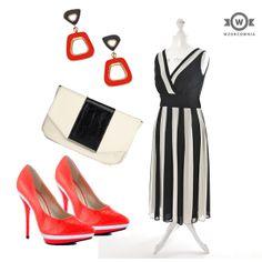 Sukienka Evans (butik #Wzorcownia), Buty Shoe Republic Gavin – Neon Pink, Torebka W118 by Walter Baker Ferruccio Clutch, Kolczyki Blu Bijoux
