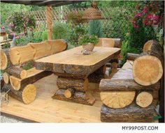 Rustic Outdoor Log Table and Benches