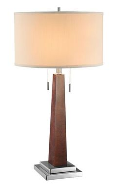 Wood Column Table Lamp -- A sleek combination of midcentury and modern design with twin pull-chains for different lighting options. #classy cort.com