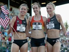 Emily Infeld, Molly Huddle and Shalane Flanagan pose after the final of the Womens 10,000 meter.  Andy Lyons, Getty Images