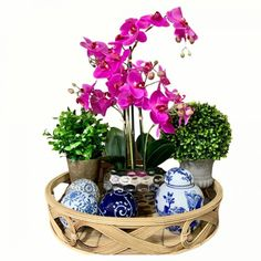 Rattan Tray with decor balls, orchid and ginger jar       #ihouzit #rattantray #decortray #gingerjar #orchid #pinkorchid #green