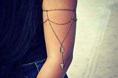 arrow armlet, upper arm chain, body chain, unique jewelry