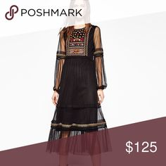 ZARA PLUMETIS TULLE EMBROIDERED DRESS Brand new with tags, size small, midi full length dress depending on height, tulle dress with embroidery, lined throughout as shown. Zara Dresses Midi