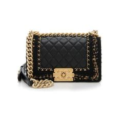Rental Chanel Lambskin Tweed Chain Small Boy Bag ($500) ❤ liked on Polyvore featuring bags, handbags, chanel, black, tweed purse, chain purse, lambskin purse, chanel bags and lambskin handbag