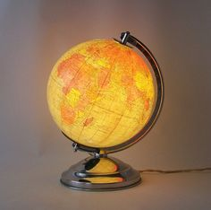 vintage lighted globe replogle world globe lamp mid century modern family home decor fresh spring pastels pink, blue, yellow, green