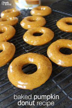 Yum!  Baked pumpkin donut recipe with caramel icing.