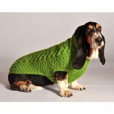 Hundepullover stricken Zopfmuster