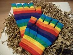 gloves, rainbow, fingerless, I had some of these in rainbow and lots more neon ones!