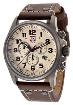 50% Off Luminox Men's Chronograph Beige Dial Brown Genuine Leather Watch $449.99!