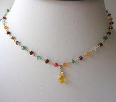 choker neckalce. dainty multi gemstone by veroniquesjewelry, $60.00