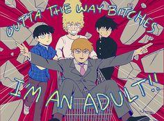 Outta the way b****es, I'm an adult!!, funny, text, Mob, Reigen, Ritsu, Teruki, shopping cart, crashing, wall; Mob Psycho 100