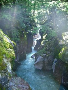 Misty River Gorge, Glacier National Park, Montana--perfect blue, great greys, two greens? Craggy rocks. I like it!