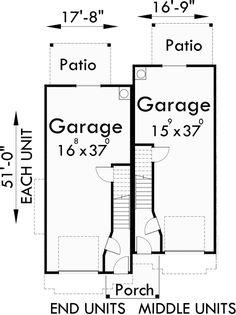 Quadplex plans narrow lot house plans row house plans f for 4 plex plans narrow lot