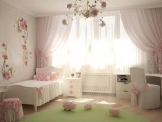 Pink White Girls Room Decor With Modern Curtain And Flower Picture Wallpaper Comfortable Children Room with Many Bright Colors Bedroom design  http://seekayem.com