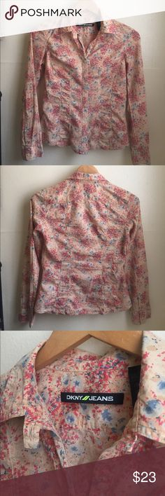 DKNY JEANS floral blouse This blouse button down is in good condition. 100 percent cotton. Tops Blouses