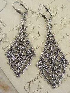 Vintage Silver Earrings Victorian Earrings