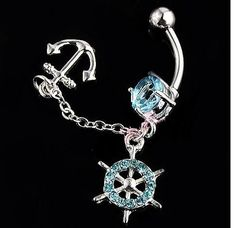 Ship Wheel Anchor Dangle Gem Belly Button Navel Rings Body Piercing Jewelry. If I ever had the guts to do my belly button, this would be my choice. But I doubt I ever would. ;P