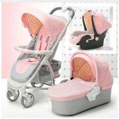 Baby Stroller 3 in 1 High Landscape Pram travel foldable pushchair Car Seat Baby sleeping basket Newborn cradle pink 2 Year Old Baby, Baby Carriage, Prams, Baby Store, Baby Car Seats, Children, Kids, Baby Strollers, Lush