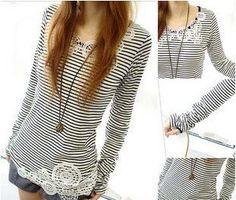 2012 autumn women's stripe laciness long-sleeve T-shirt medium-long slim basic shirt on AliExpress.com. 10% off $10.38