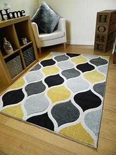 New Ochre Yellow Black Grey Trellis Design Thick Quality Soft Modern Carved Rugs Cheap Long Hall Runner Mats UK (80x140cm): Amazon.co.uk: Kitchen & Home
