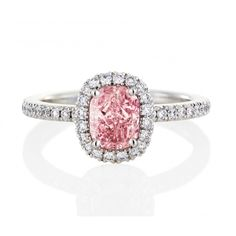 De Beers pink cushion-cut Aura Ring with white diamond halo