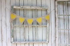 Heart Garland with canary yellow hearts by victorianstation, $30.00