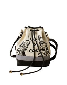 Black Drawstring Bucket Bag with Cat Pattern I found this beautiful item on VIPme.com.Check it out!