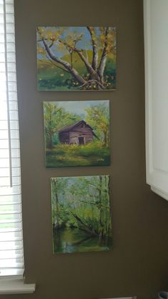 I like to hang the small art in a column.. dreamy.