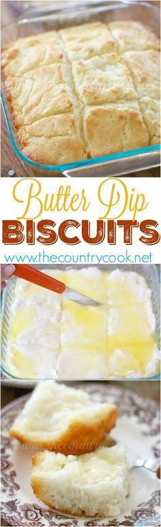 Butter Dip Buttermilk Biscuits Recipe from The Country Cook. So easy and so yummy! Best homemade biscuit ever! The Best Homemade Biscuits Recipes - Quick, Easy and Delicious Bread Sides for Breakfast, Brunch, Lunch and Family Dinner! Best Biscuit Recipe, Homemade Biscuits Recipe, Homemade Butter, Homemade Soup, Biscuit Bread, Good Food, Yummy Food, Crumpets, Comfort Food