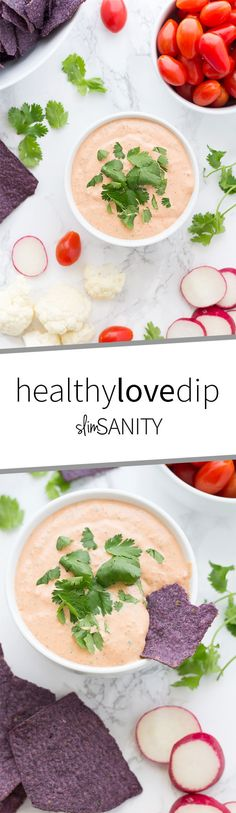 This Healthy Love Dip is a recreation from our favorite dip at Central Market. It's made with healthier ingredients and is great for snacking! | slimsanity.com