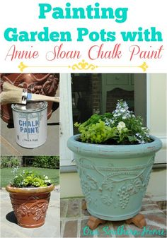 Giving Garden Pots New Life With Annie Sloan Chalk Paint.  Do this all the time but have got to try doing it with AS Chalk paint.....