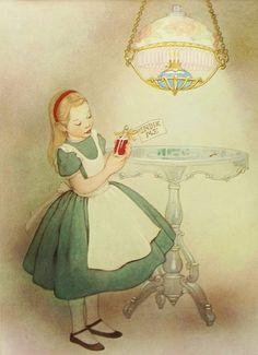 Vintage Drink Me Bottle, 1950s Alice in Wonderland (9x12 Childrens Fantasy Print w/Mat)
