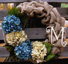 Monogrammed Burlap Wreath, Hydrangeas, Monogrammed Letter, Any time Wreath